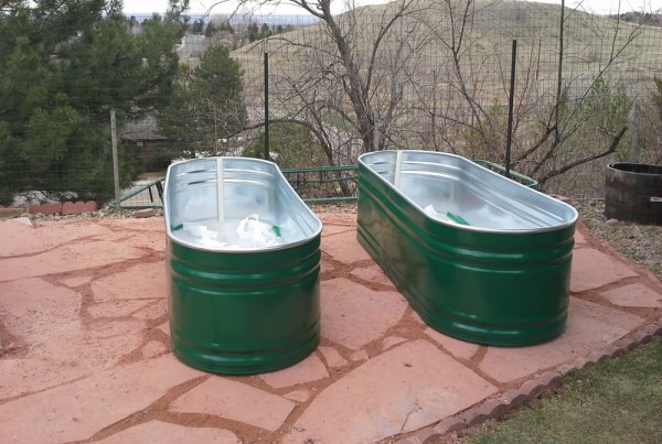 Painted Farm Tubs Outside